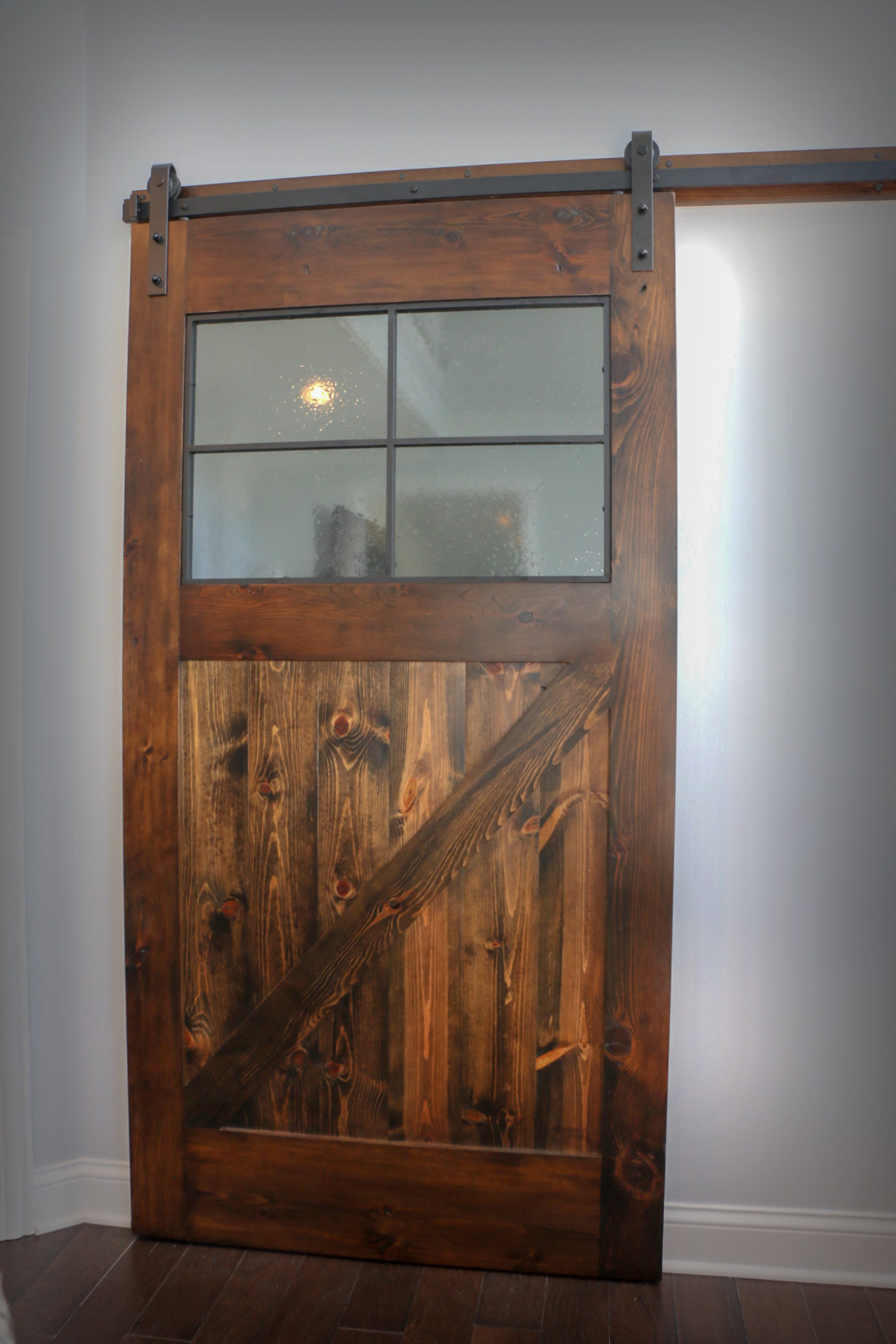 Custom Barn Door with Rippled Glass