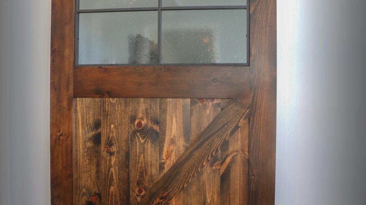 Custom Barn Door with Rippled Glass
