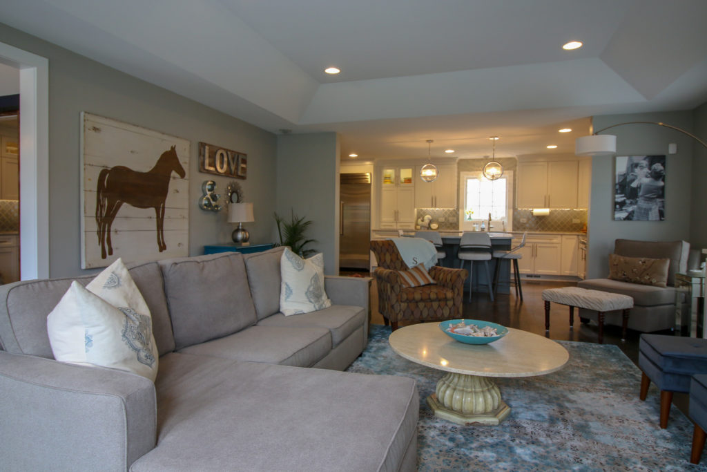 Family Room Remodel with Tray Ceiling