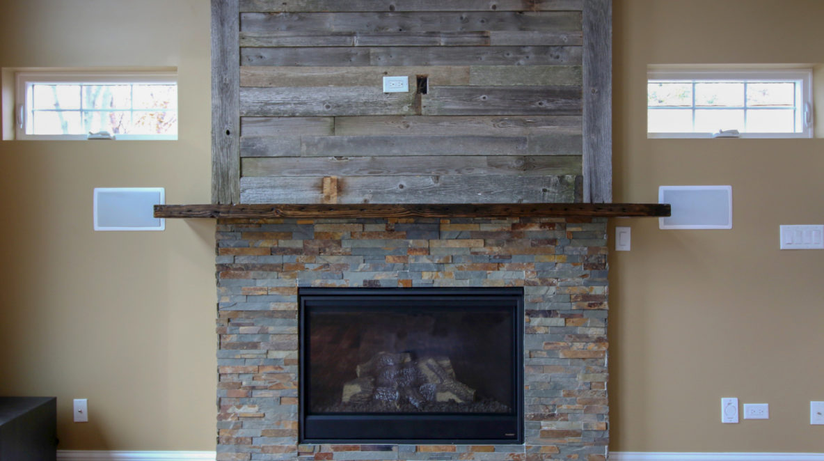 Fireplace with Combination of Stacked Slate and Reclaimed Barnwood