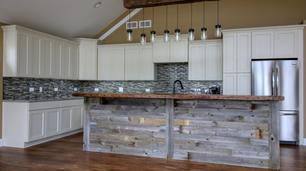 Kitchen Remodel with Custom Reclaimed Barnwood Breakfast bar