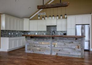 Kitchen Remodel with Custom Reclaimed Barnwood Breakfast bar