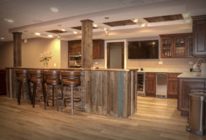 Basement Bar with Barnwood Siding