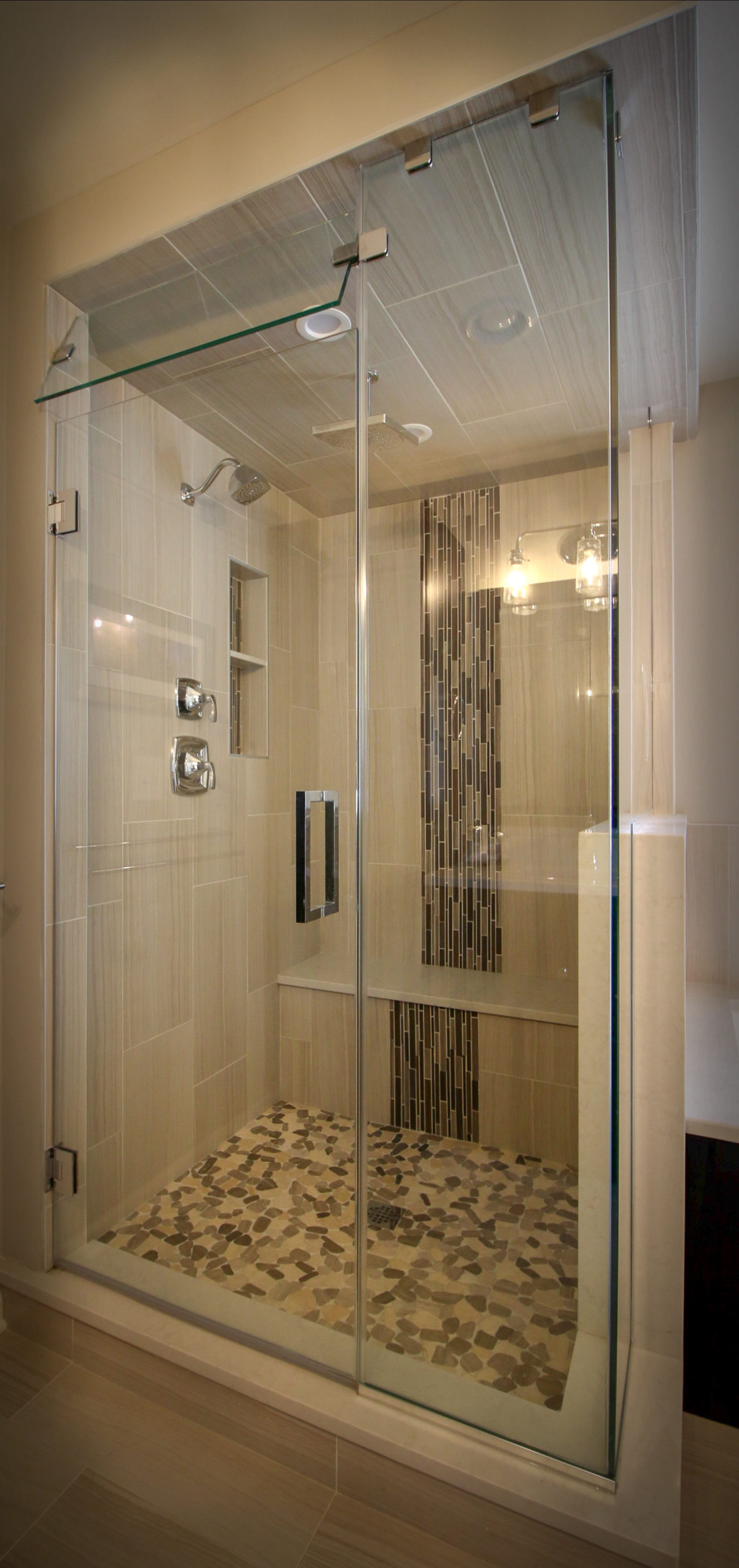 Bathroom Shower Remodel with Cascading Tile