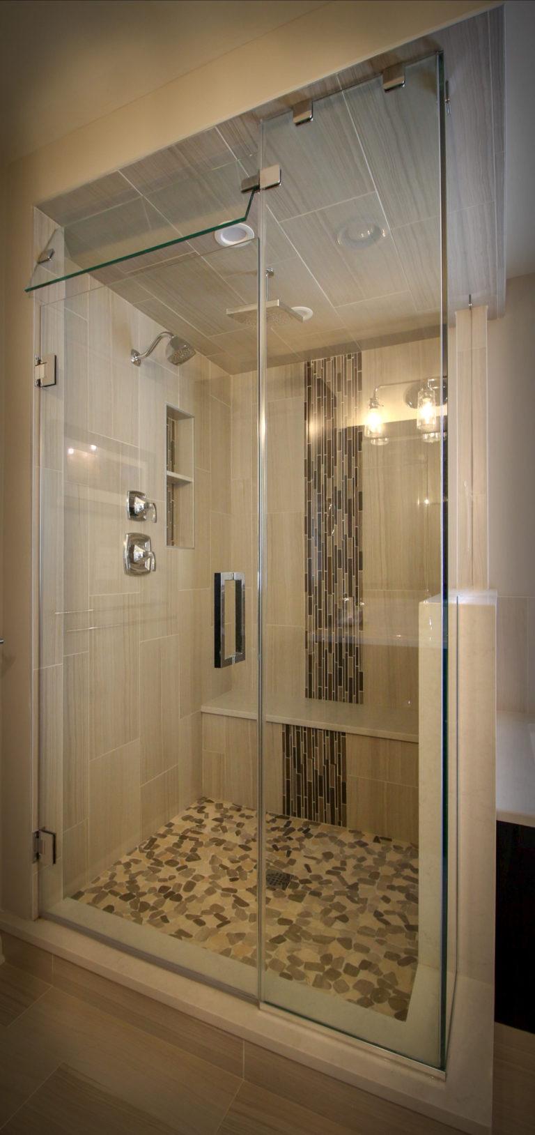 Bathroom Shower Remodel with Cascading Tile
