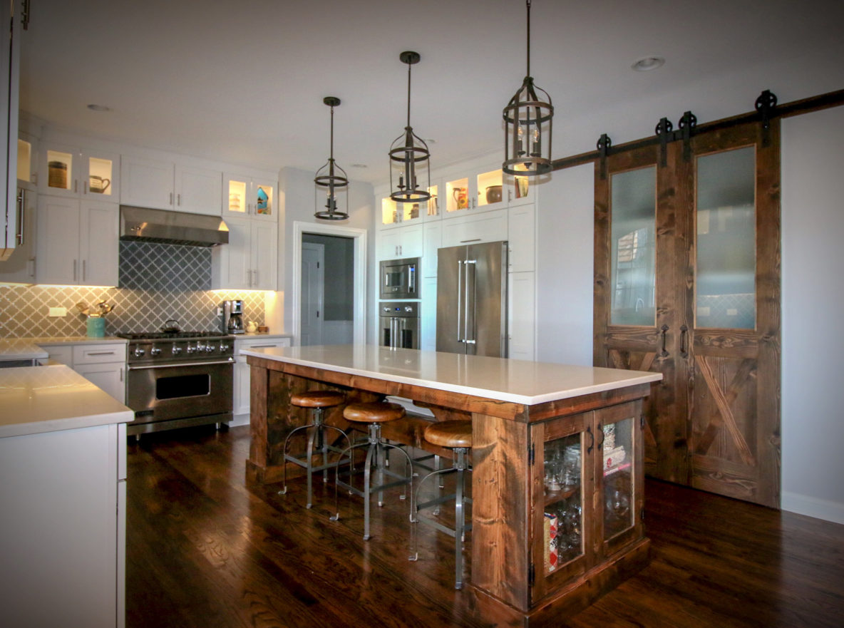 Kitchen with Custom Reclaimed Timber Island and Doors