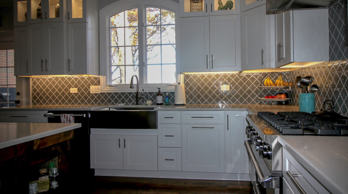 Kitchen Remodel with Custom Backsplash and Cabinet Under-lighting