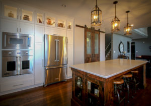 Beautiful Kitchen Remodel with Glass Door Upper Cabinets