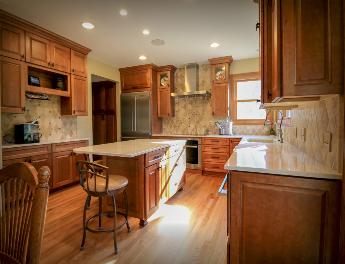 Oak Kitchen Cabinets with Stone Counter Tops