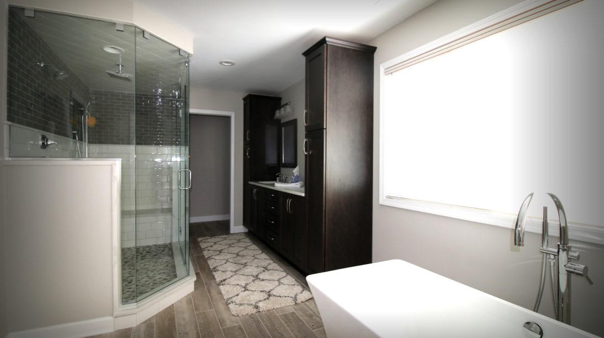 Bathroom Remodel with Wood-like Porcelain Floor