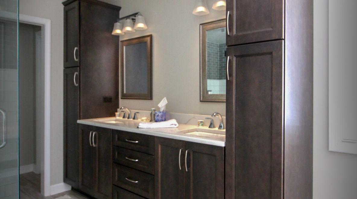 Double Walnut Vanity in Bathroom Remodel