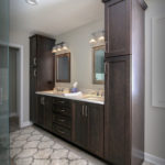 Double Walnut Vanity in Bathroom Remodel