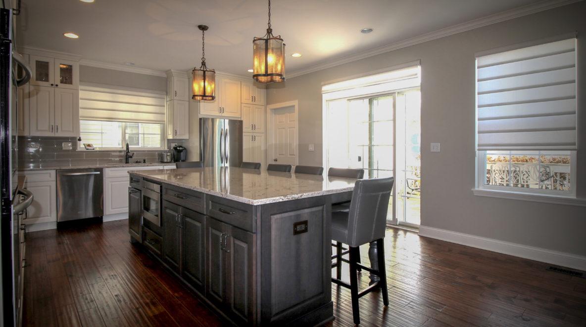 Grey Island White Cabinet Kitchen