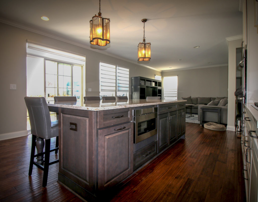 Kitchen Island Opening Up to Family Room
