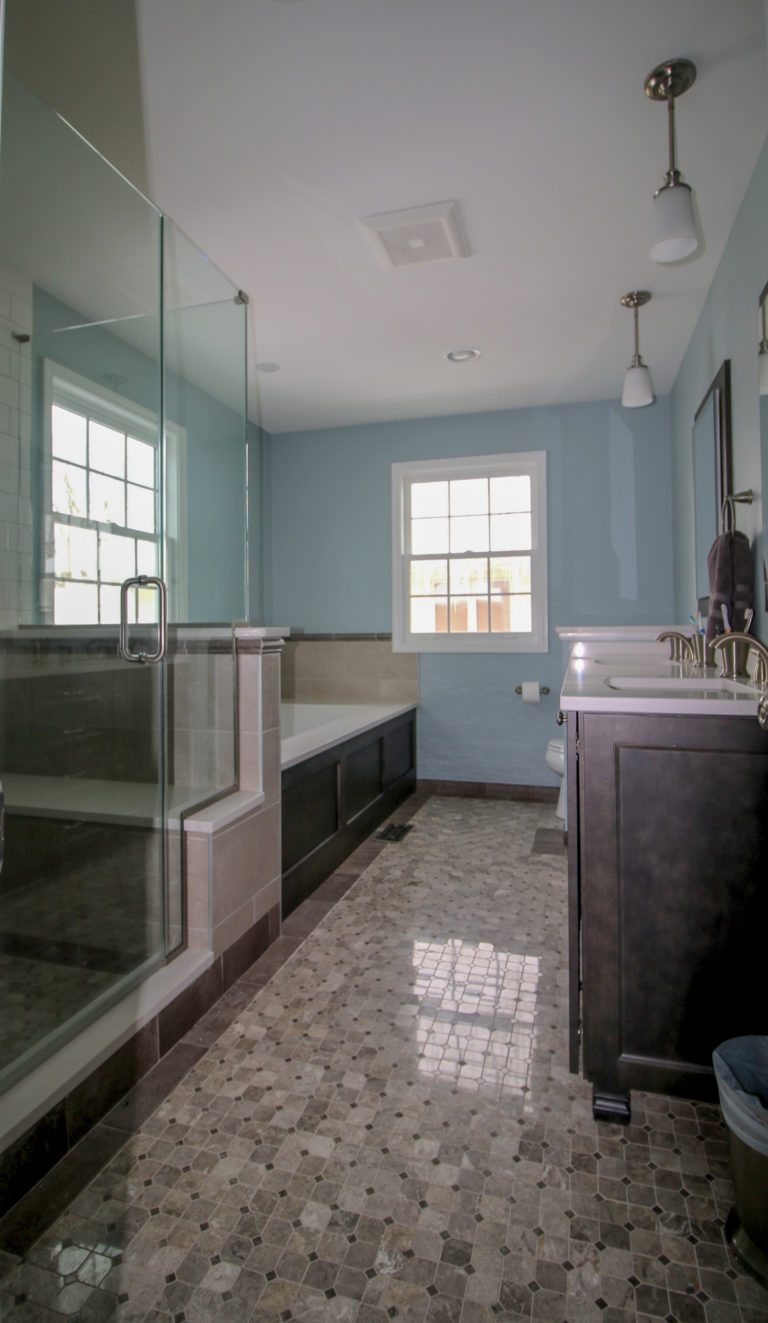 Large Updated Shower with Marble Floor