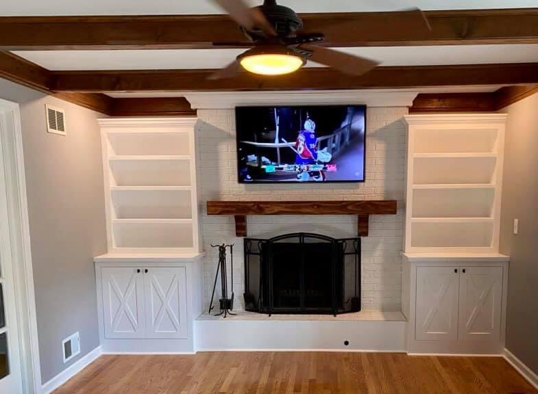 Custom Fireplace Built-ins with Chunky Wood Mantle