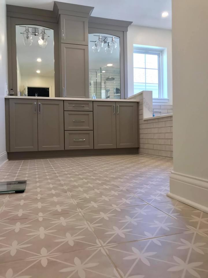Bright and Airy Master Bathroom with Patterned Tile