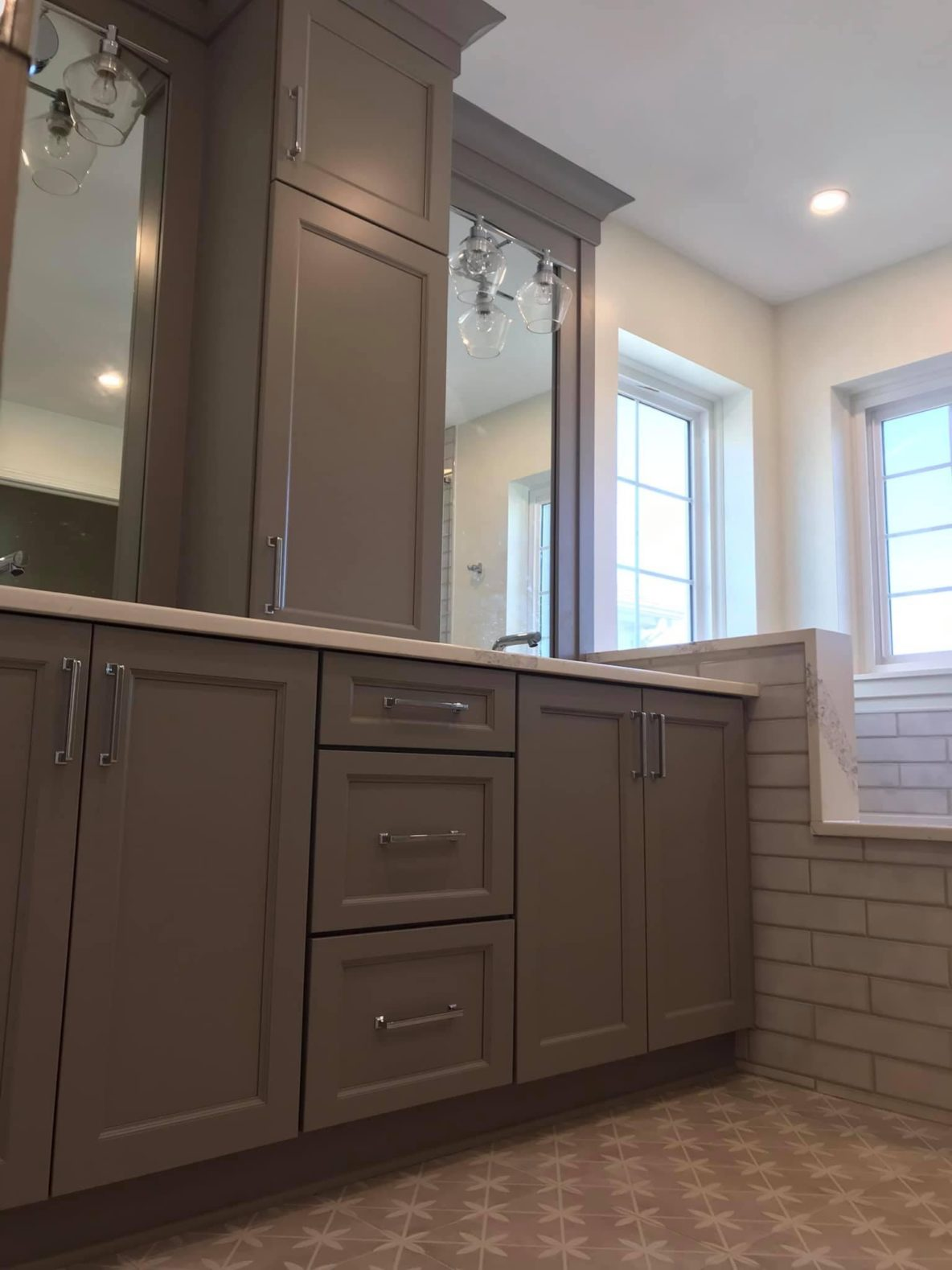 Modern Grey Vanities Paired with Chrome Fixtures