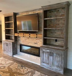 Ribbon Fireplace Wall with Custom Built-ins and Shiplap Wall