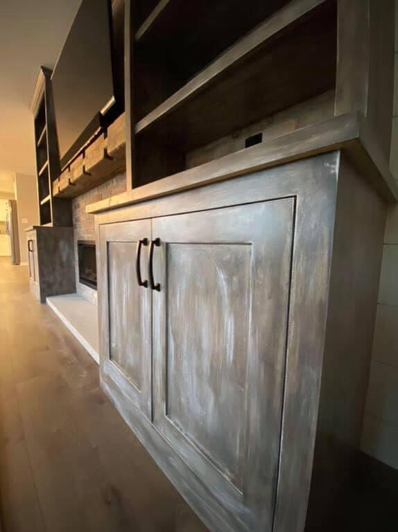 Custom Fireplace Built-ins with Black Hardware