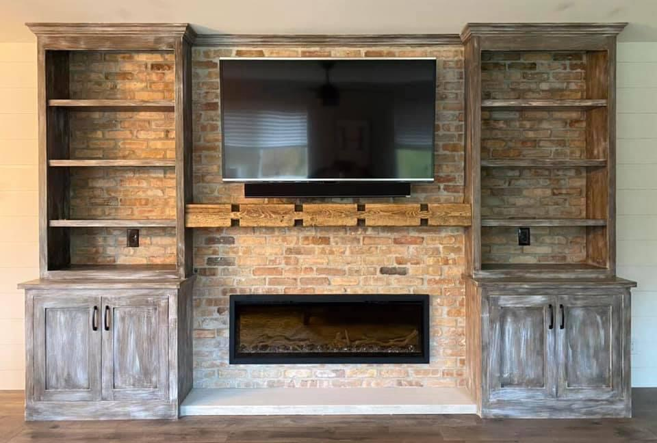 Beautiful Custom Entrainment Center Featuring Wood and Brick Textures